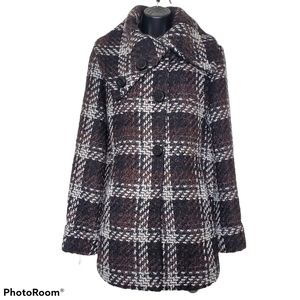 1 Madison Luxe Outerwear Plaid Wool Shawl Coat